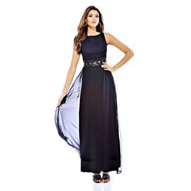 AX Paris Women's Chiffon Embellished Waist Maxi Black Dress at Kmart.com