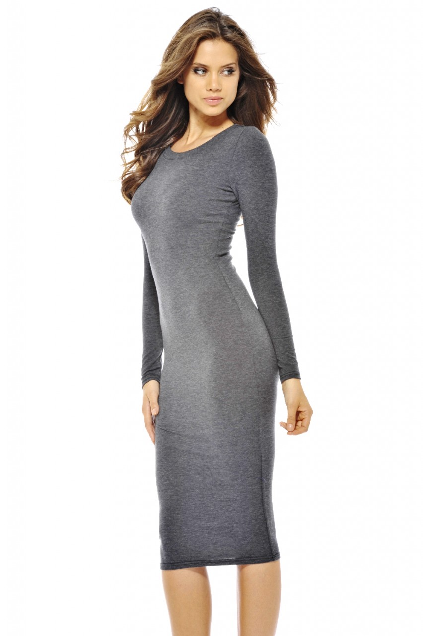 AX Paris  Women's Plain Long Sleeve Midi Charcoal Dress