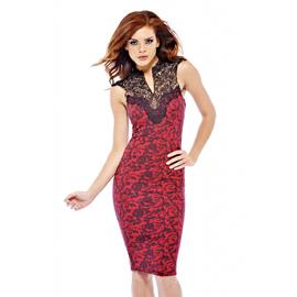 AX Paris Women's Floral Print Crochet Neck Midi Red Dress at Kmart.com