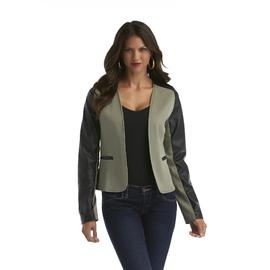 JWK Women's Open Front Faux Leather Detailed Jacket at Sears.com