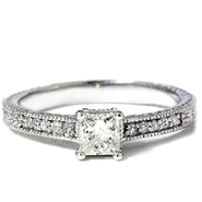 Pompeii .50 cttw Princess Cut Antique Vintage Diamond Engagement Ring 14K White Gold at Kmart.com