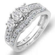 Pompeii 3/4 cttw Three Stone Vintage Diamond Ring Set 14K White Gold at Kmart.com