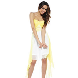 AX Paris Women's Dip Dye Drop Back Chiffon Yellow Dress - Online Exclusive at Sears.com