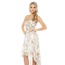 AX Paris Women's Floral Printed Strapless Chiffon Cream Dress - Online Exclusive at Sears.com