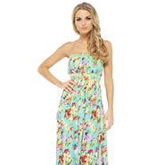 AX Paris Women's Floral Elasticated Strapless Aqua Maxi - Online Exclusive at Kmart.com