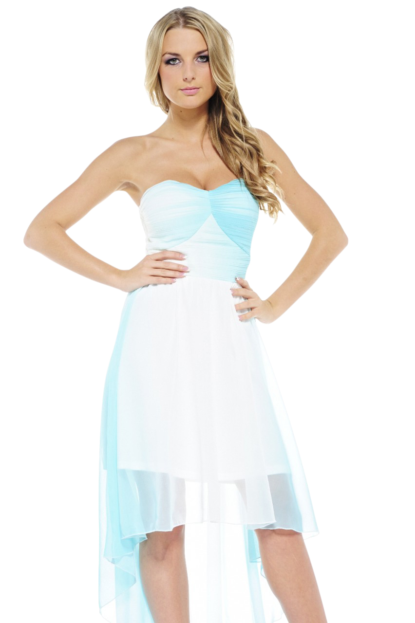 AX Paris Women's Dip Dye Drop Back Chiffon Aqua Dress - Online Exclusive at Sears.com
