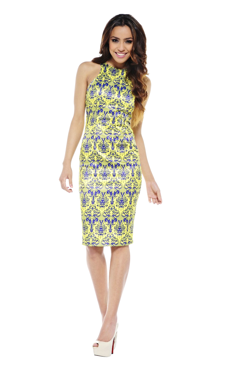 AX Paris Women's Oriental Printed Cut In Neck Midi Yellow Dress - Online Exclusive at Kmart.com