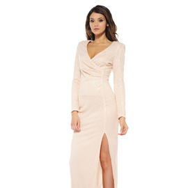 AX Paris Women's Sequin Split Maxi Nude Dress - Online Exclusive at Kmart.com