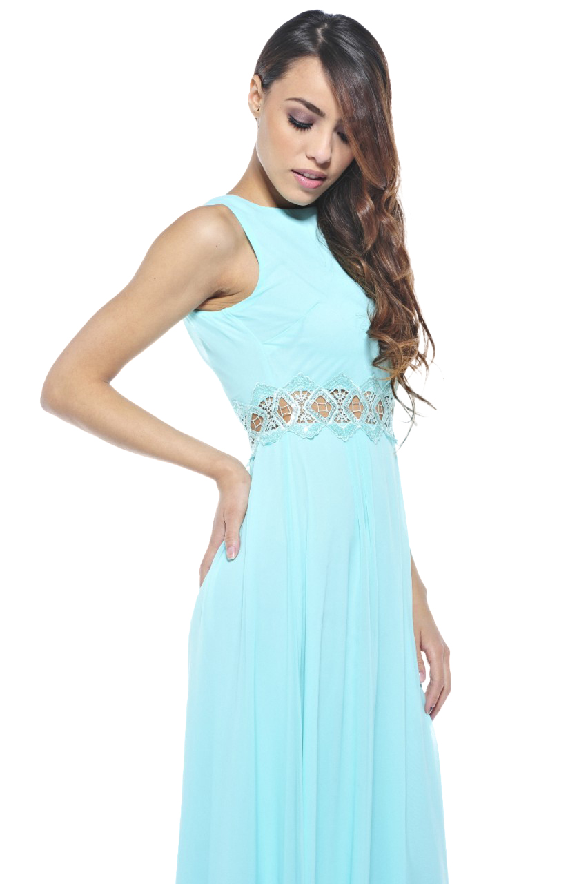 AX Paris Women's Chiffon Embellished Waist Maxi Aqua Dress - Online Exclusive at Kmart.com