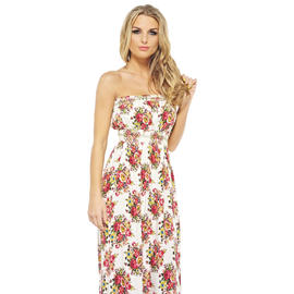 AX Paris Women's Floral Elasticated Strapless Maxi - Online Exclusive at Kmart.com