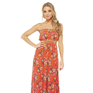 AX Paris Women's Floral Elasticated Strapless Coral Maxi - Online Exclusive at Kmart.com