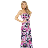 AX Paris Women's Floral Elasticated Strapless Navy Maxi - Online Exclusive at Kmart.com