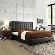 Oxford Creek Jaxone Black Bonded Leather Full-size Wingback Bed at Kmart.com