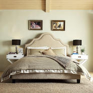 Oxford Creek Valencino Beige Linen Nail Head Arch Curved Full-size Upholstered Bed at Kmart.com