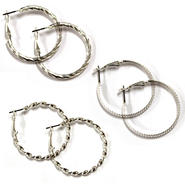 Attention Women's 3-Pairs Hoop Earrings - Silvertone at Kmart.com