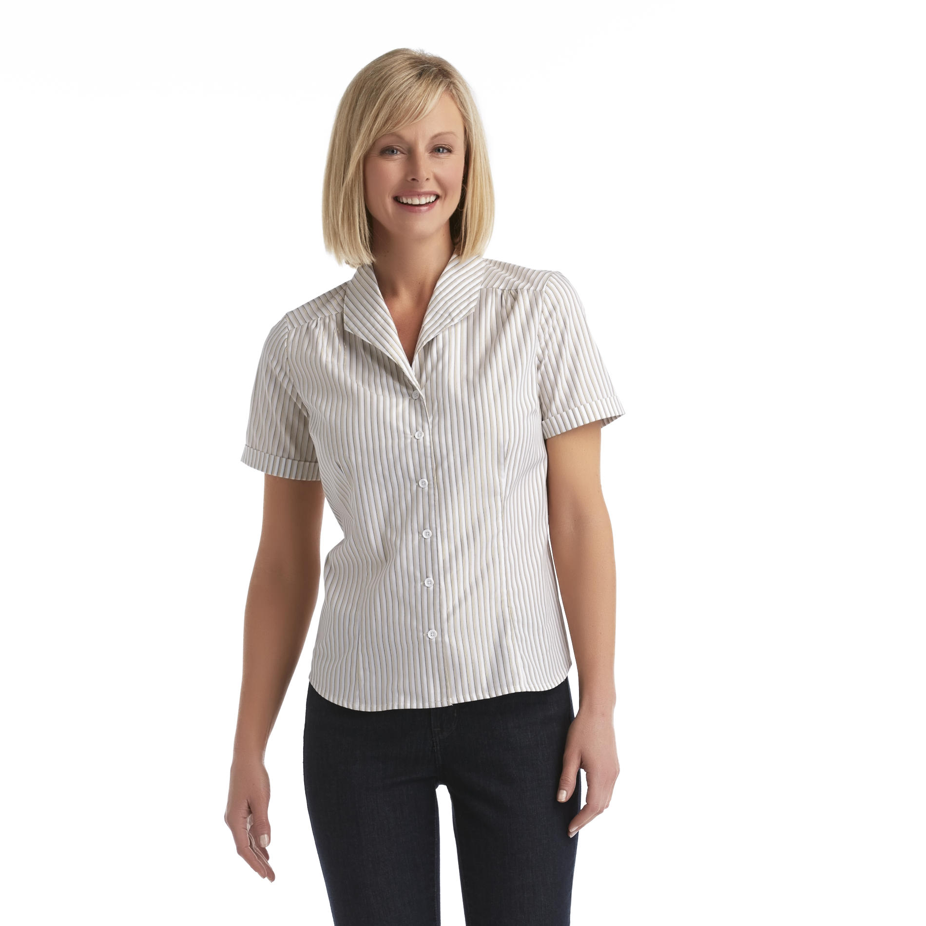 Jaclyn Smith Women's Button-Front Shirt - Striped at Kmart.com