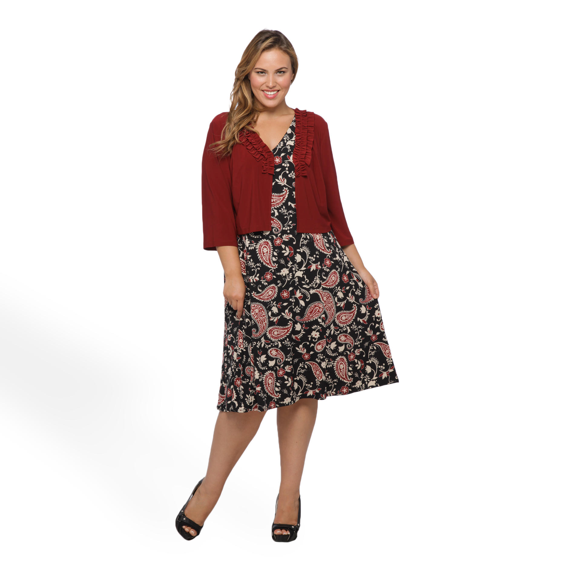 Danny & Nicole Women's Plus Printed Dress & Jacket - Paisley at Sears.com