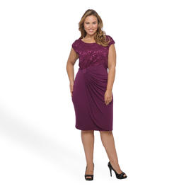 Connected Apparel Women's Plus Faux Wrap Evening Dress - Sequins at Sears.com