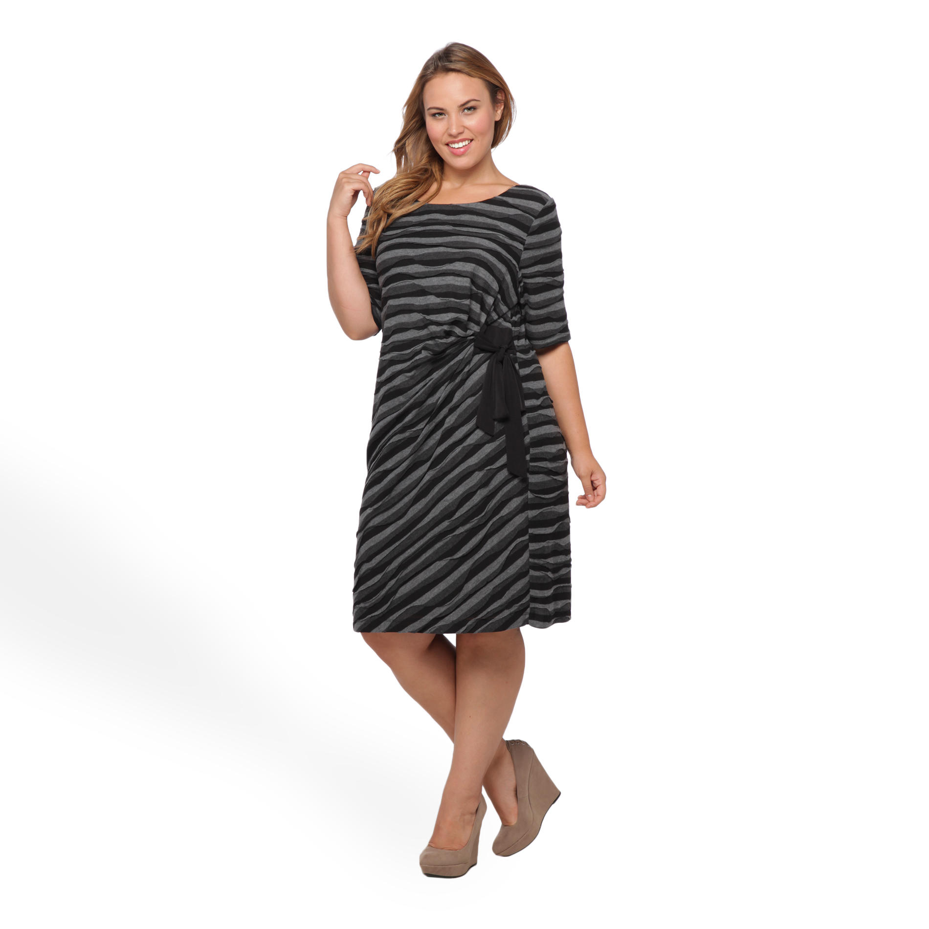 Connected Apparel Women's Plus Draped Dress - Striped at Sears.com