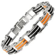 Steel Black and Orange Resin Design Bracelet at Kmart.com