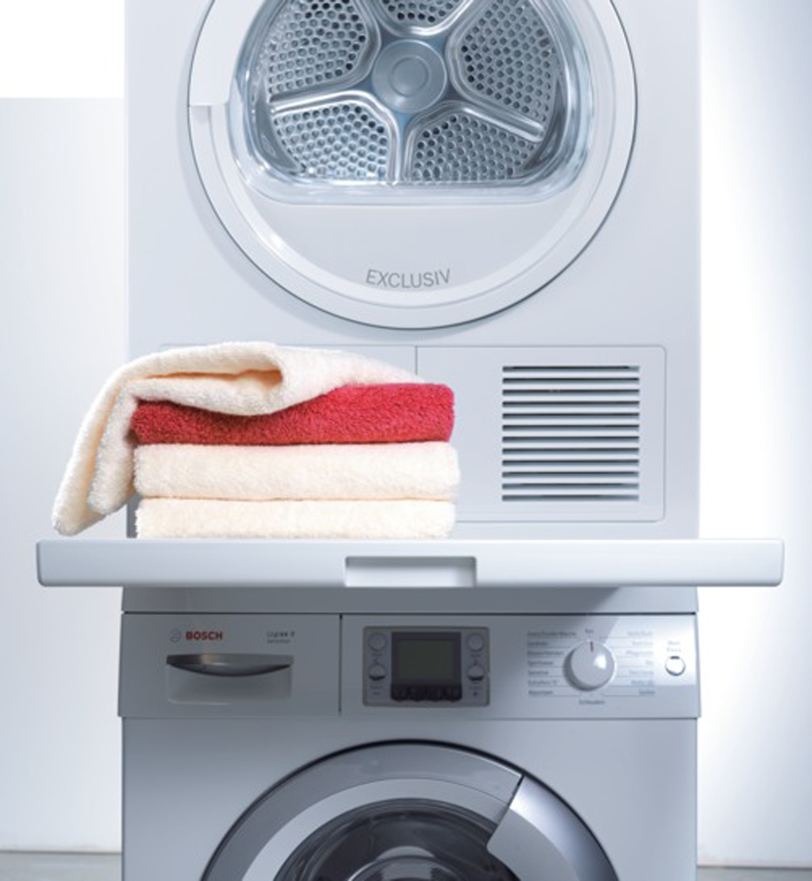 Bosch Washing Machine Stackable bosch wtz11400 laundry stacking kit w/ pull-out shelf - white