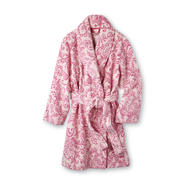 Pink K Women's Short Microterry Bathrobe - Floral Scrolls at Kmart.com