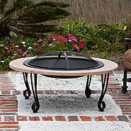 "Fire Sense 39"" Fire Pit w/Cast Iron Rim Faux Stone at Sears.com"