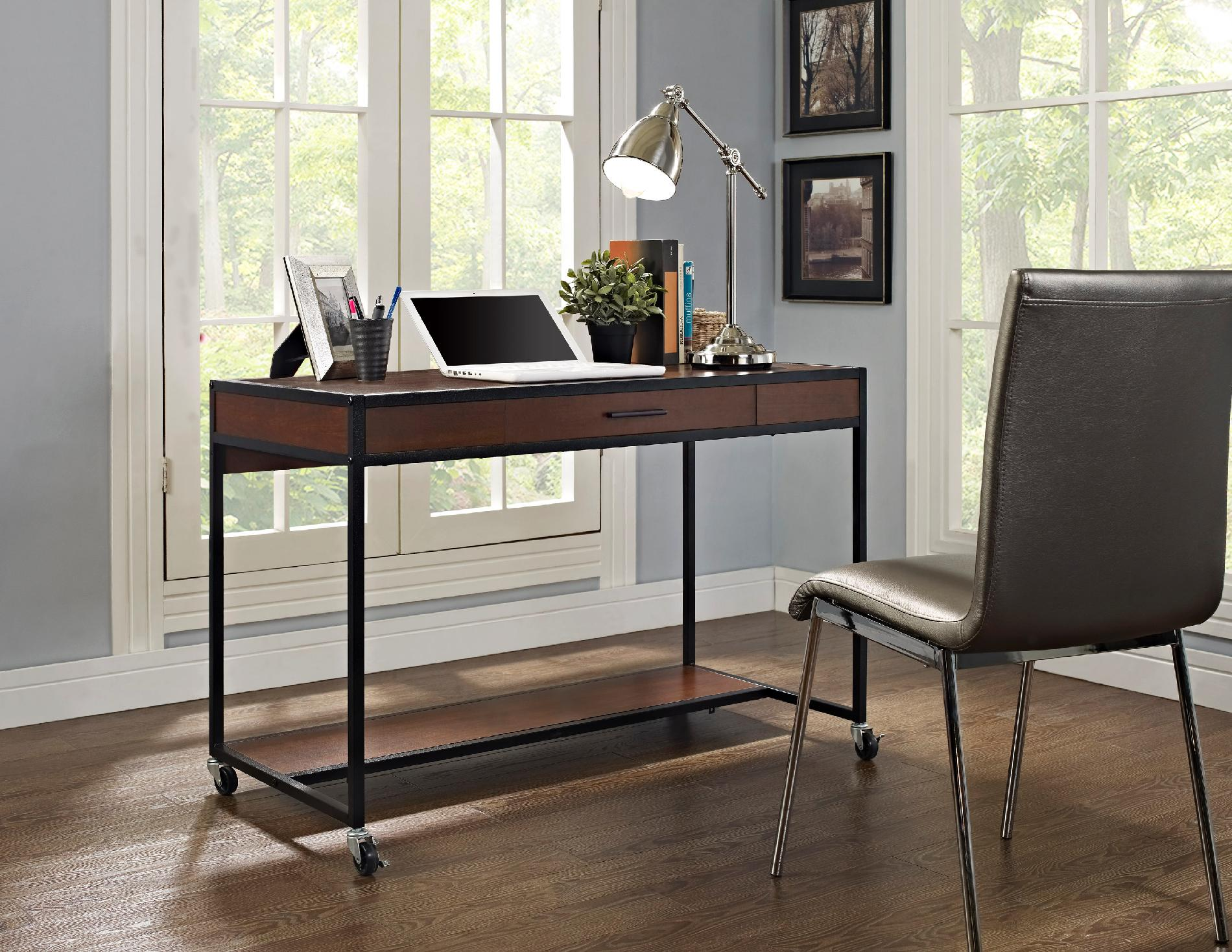 Cherry Madison Ridge Modern Desk with Wheels