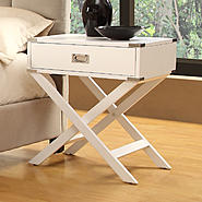 Oxford Creek Sienna White Accent Table with X Leg Nightstand at Kmart.com