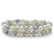 "PalmBeach Jewelry Round Aquamarine Blue and White Cultured Freshwater Pearl Set of Two Stretch Bracelets 7"" at Sears.com"