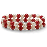 "PalmBeach Jewelry Ruby Red and White Cultured Freshwater Pearl Set of Two Stretch Bracelets 7"" at Sears.com"