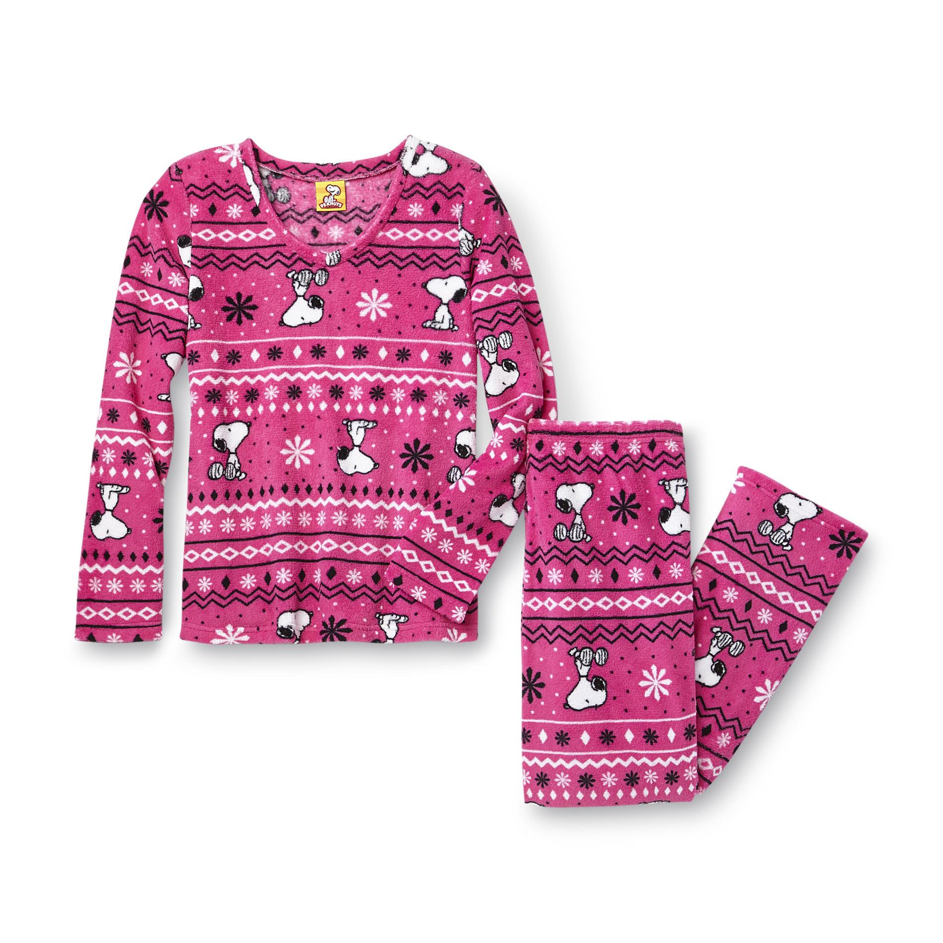 Peanuts Women's Plush Pajama Top & Pants - Snoopy at Kmart.com