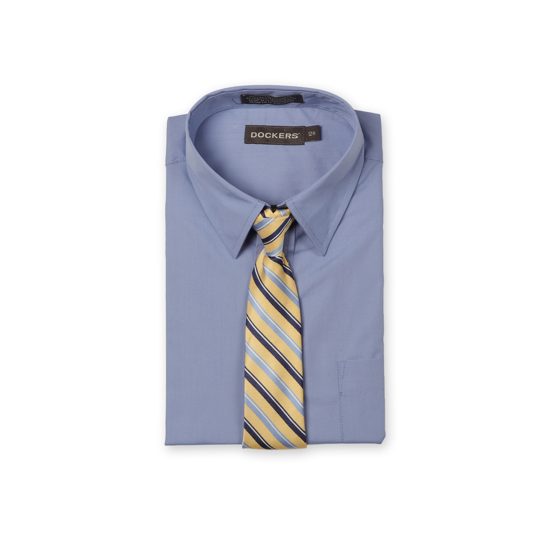 Boy's Husky Dress Shirt & Striped Tie