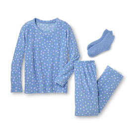 Pink K Women's Pajama Shirt, Pants & Socks - Polka Dot at Kmart.com