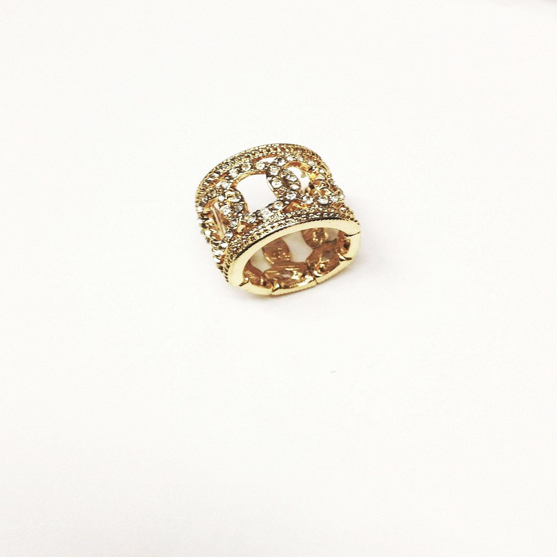 Attention Women's Rhinestone Cocktail Ring - Goldtone