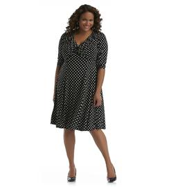 Robbie Bee Women's Plus V-Neck Dress - Polka Dot at Sears.com