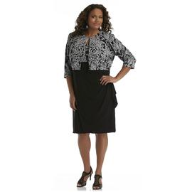 JBS Women's Plus Sequin Shrug & Draped Dress - Floral Paisley at Sears.com