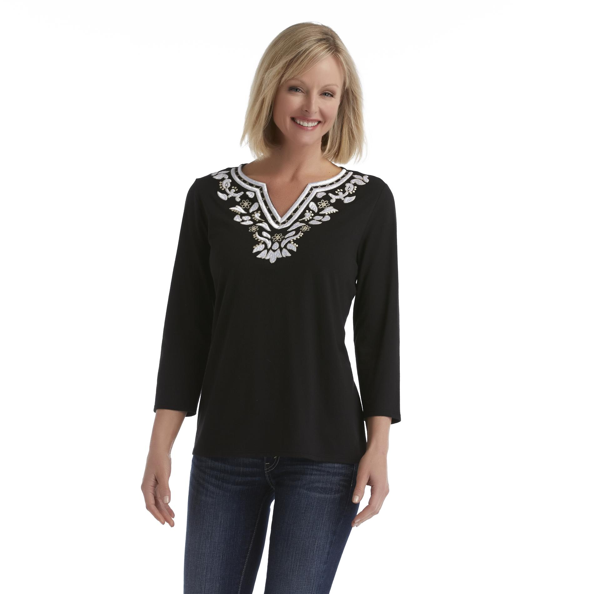 Laura Scott Women's Embroidered V-Neck Top at Sears.com