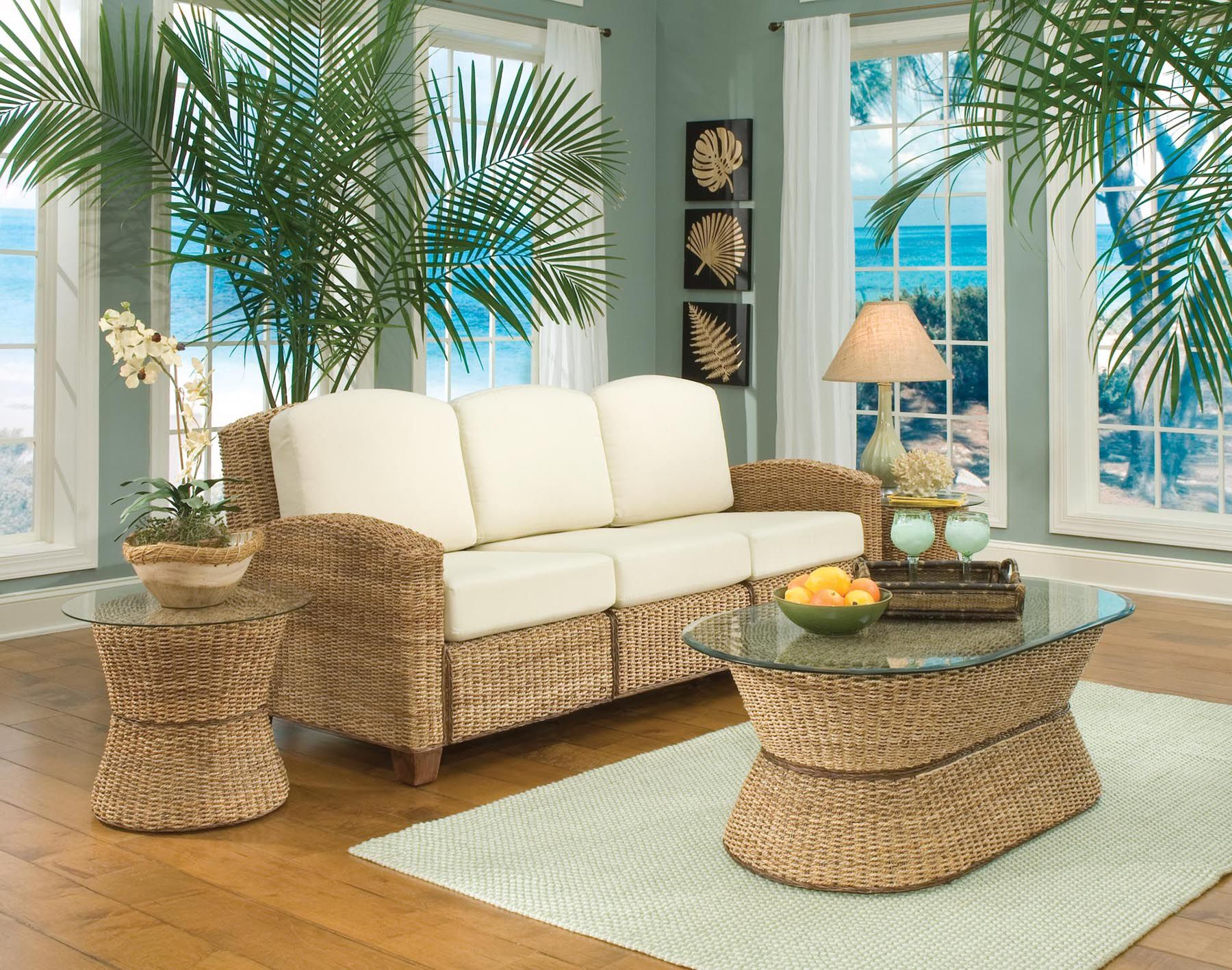 Home Styles Cabana Banana 3 Section Sofa Honey Oak Finish