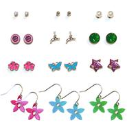 Accessories Girl's 12-Pairs Earrings - Flowers, Faucets & Ball Studs at Kmart.com