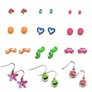 Accessories Girl's 12-Pairs Earrings - Mustaches at Kmart.com