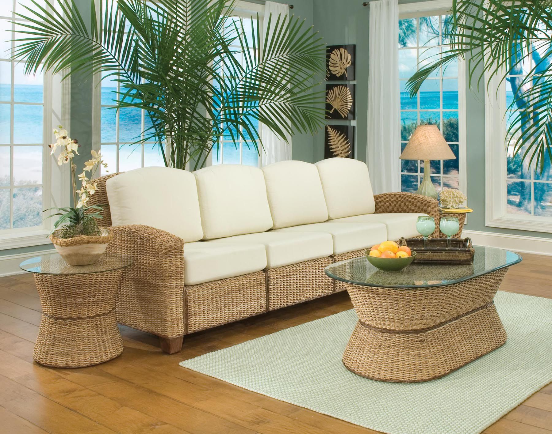 Home Styles Cabana 4 Section Sofa Honey Oak Finish