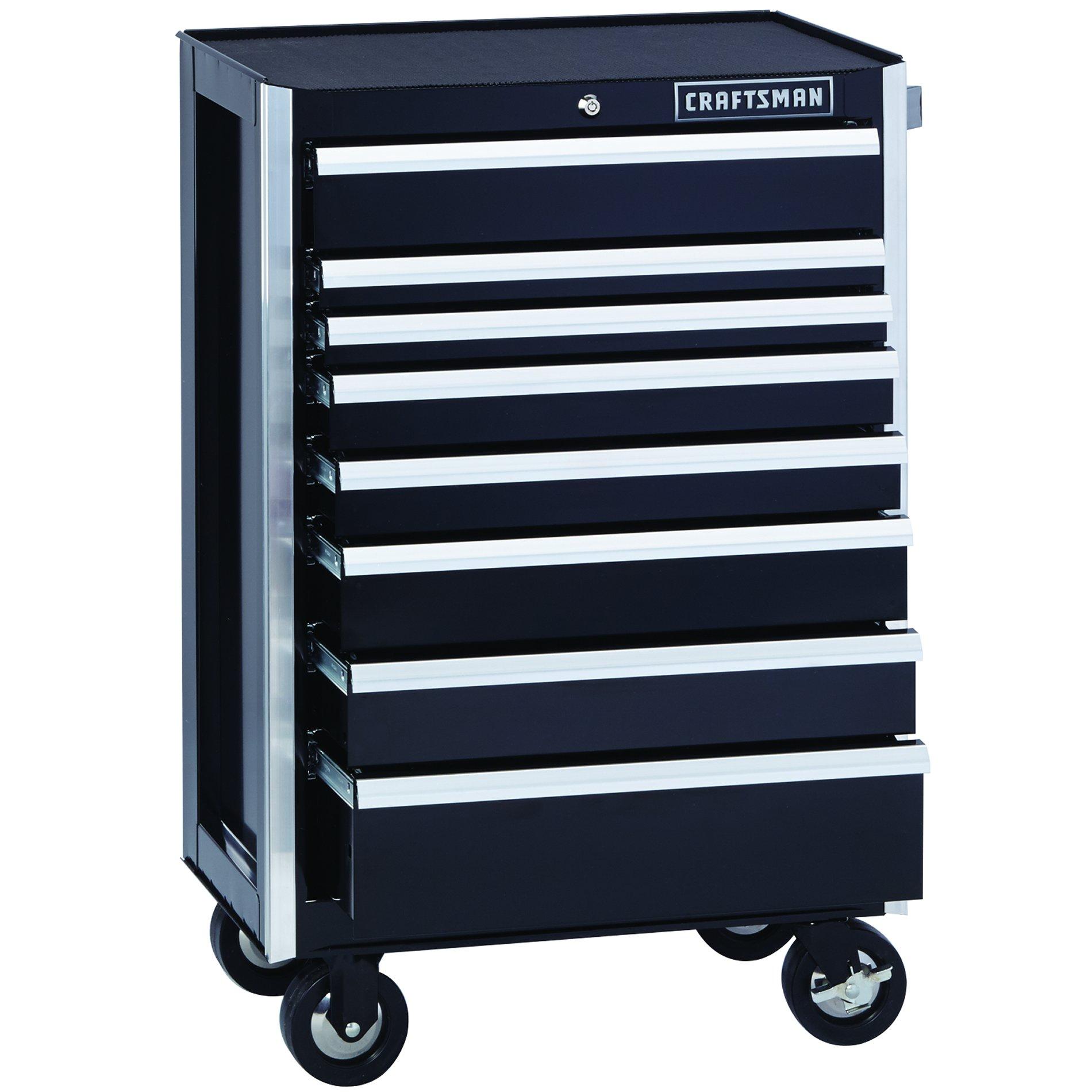 Craftsman EDGE Series 26-in. 8-Drawer Premium Heavy-Duty Ball-Bearing Rolling Cabinet - Black