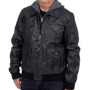 Excelled Men's Faux Leather Hooded Bomber Jacket - Online Exclusive at Kmart.com