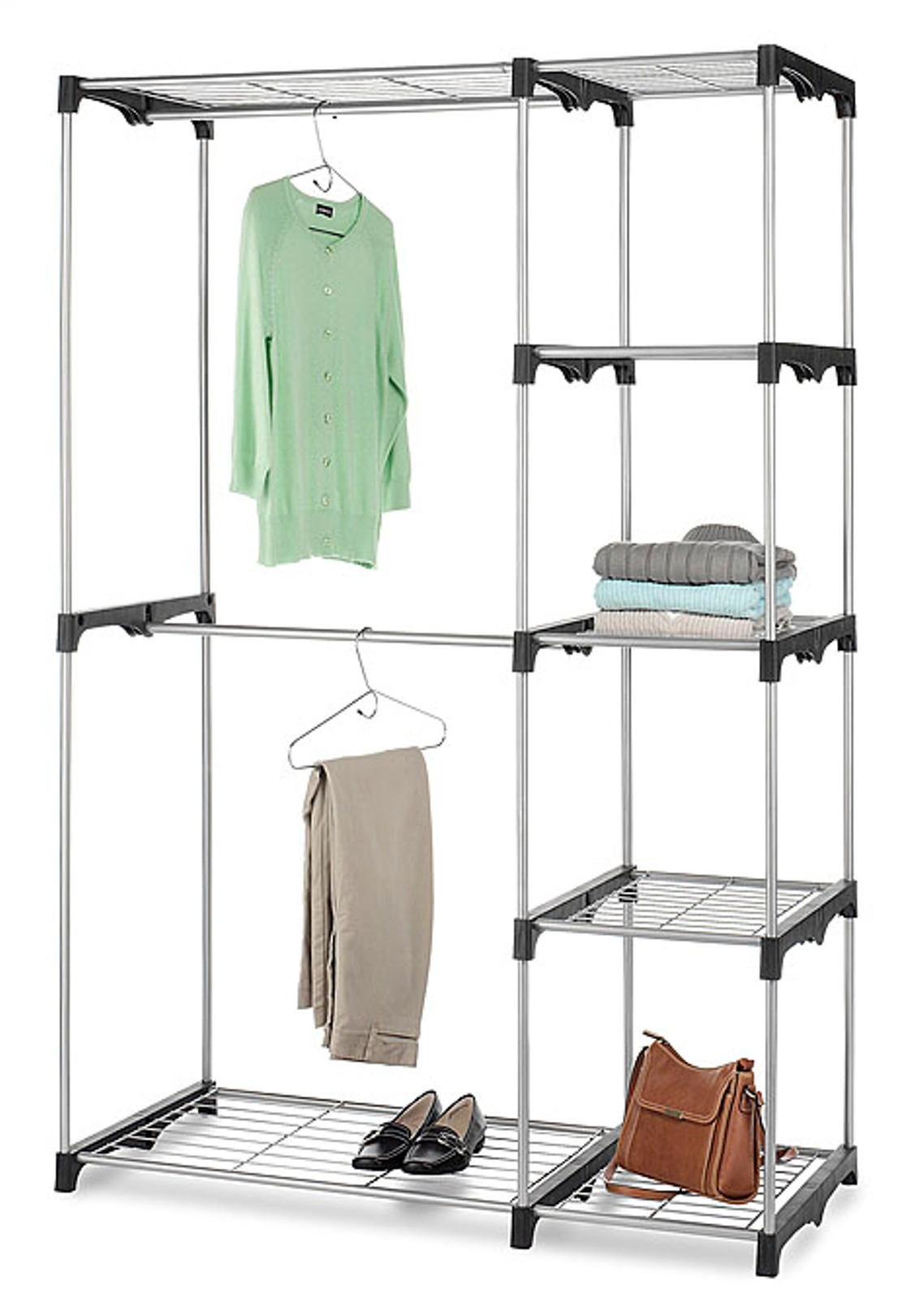 Essential Home Silver Metal Closet Double-Rod
