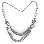Studio S Women's Beaded & Chain-Link Necklace - Silvertone at Sears.com