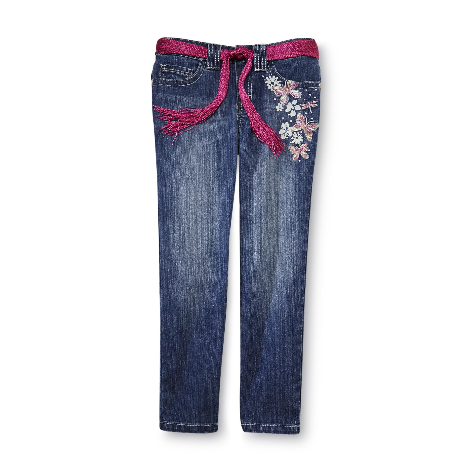 Route girl s jeans belt embroidered