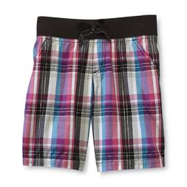 Basic Editions Girl's Poplin Bermuda Shorts - Metallic Plaid at Kmart.com
