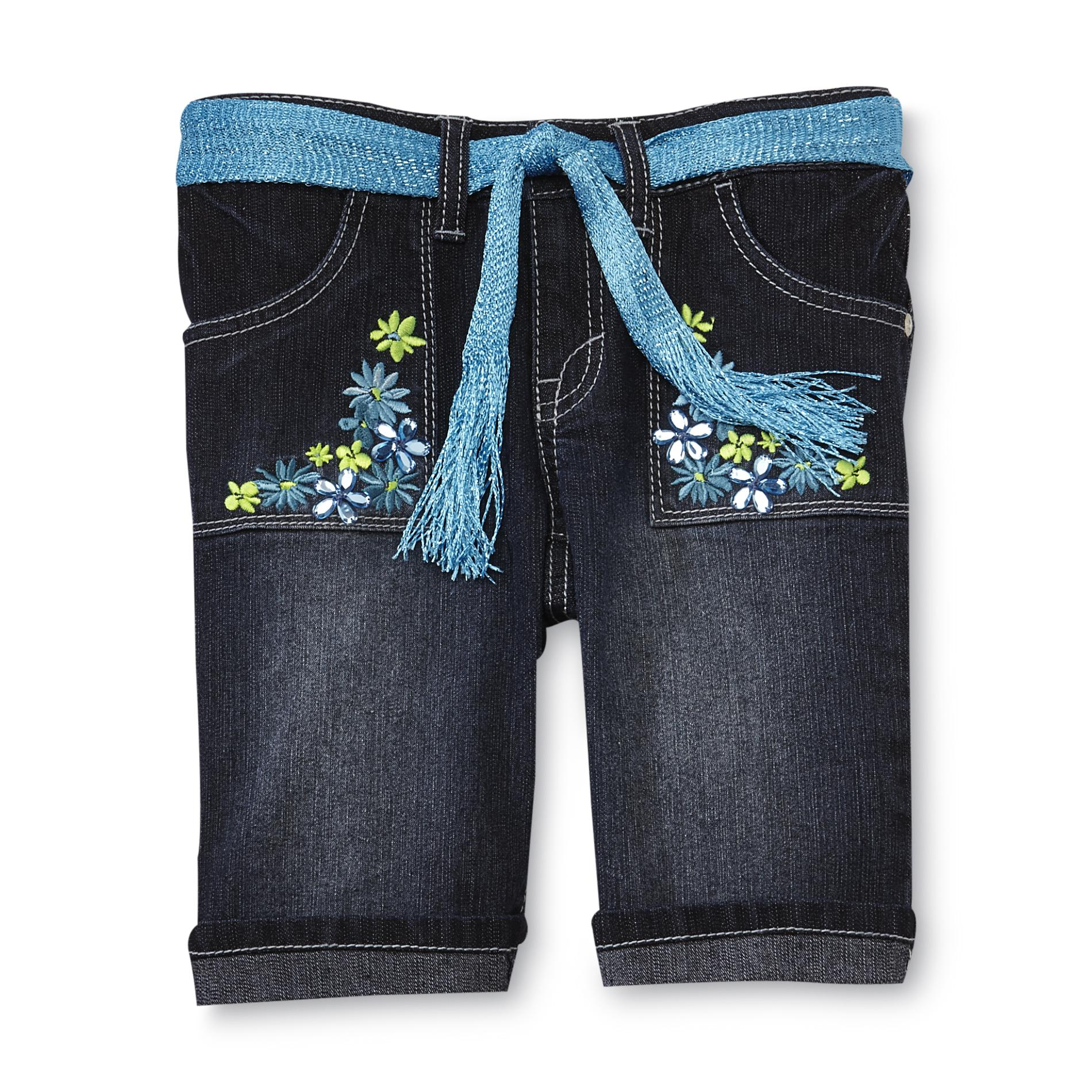 Route 66 Girl's Denim Shorts & Belt - Flowers at Kmart.com