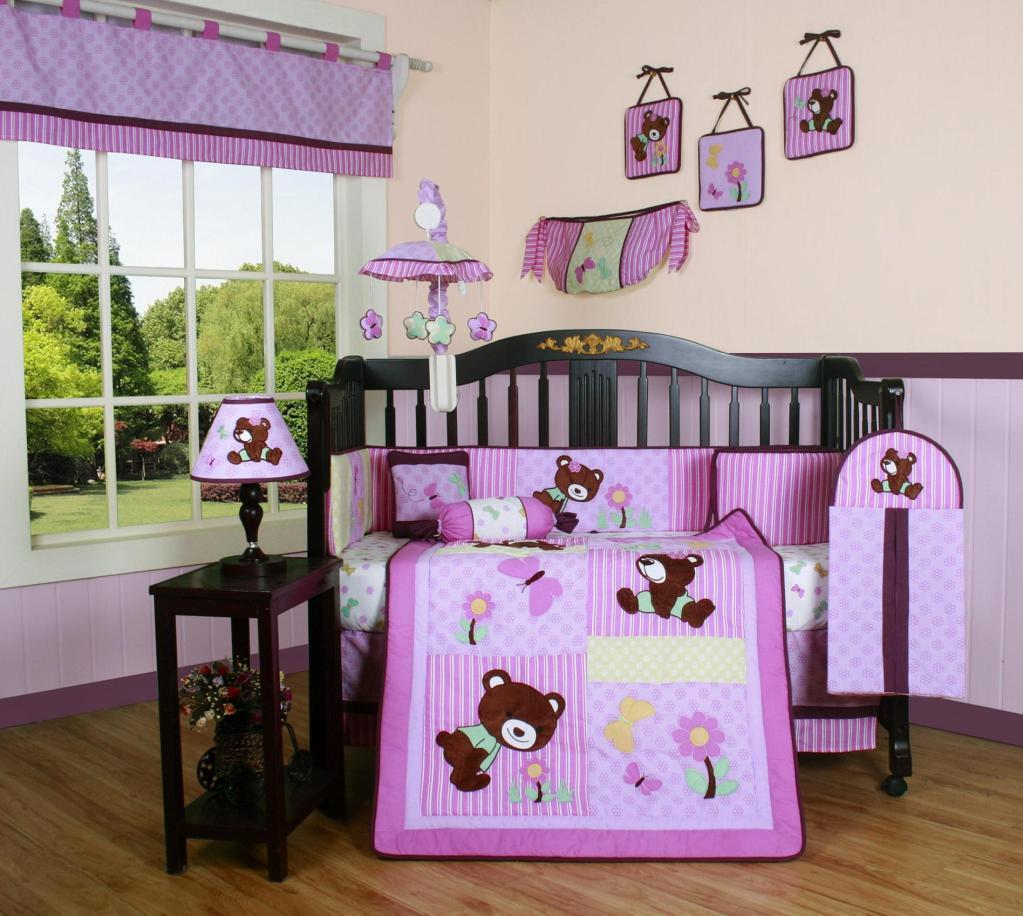 GEENNY Girl Teddy Bear 13PCS Crib Bedding Set